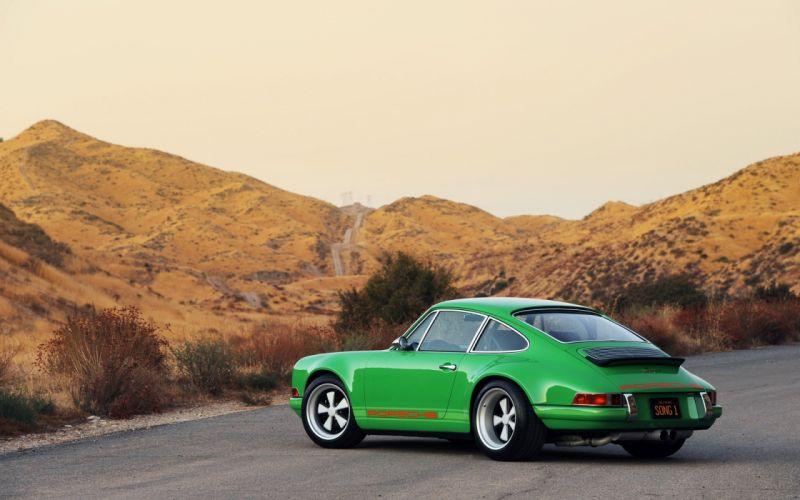 green vintage cars singers Porsche 911 Singer 911 wallpaper