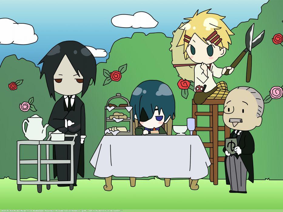 clouds tea chibi eyepatch Kuroshitsuji Ciel Phantomhive Sebastian Michaelis anime anime boys Finnian Tanaka cakes wallpaper