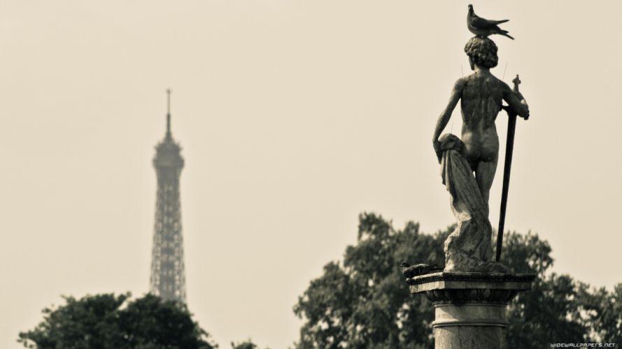 Paris cityscapes statues travel wallpaper