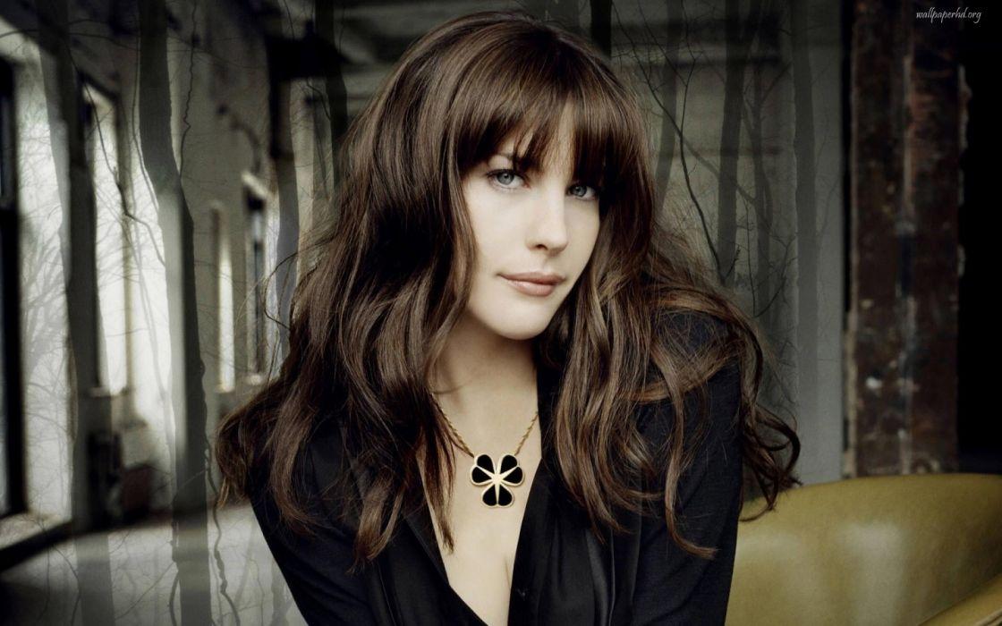 brunettes women models Liv Tyler black dress faces wallpaper
