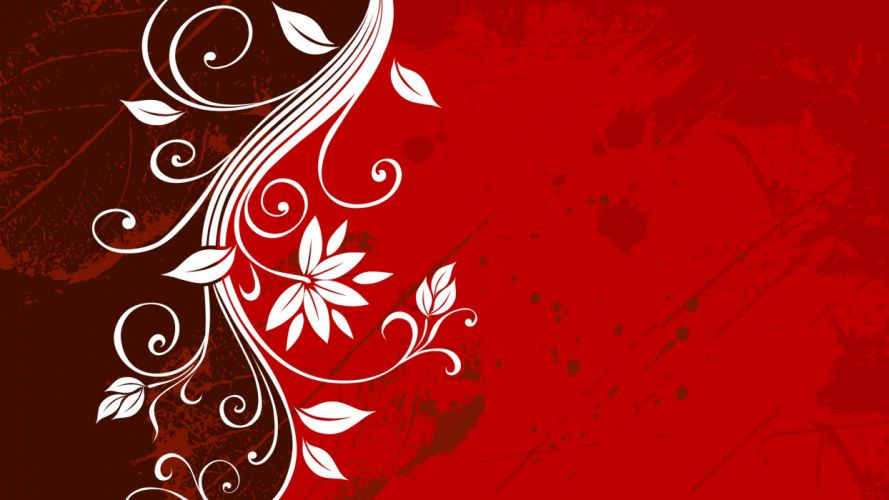 leaf red grunge vectors floral graphics wallpaper