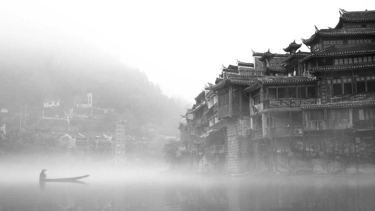 landscapes castles China mist grayscale lakes wallpaper