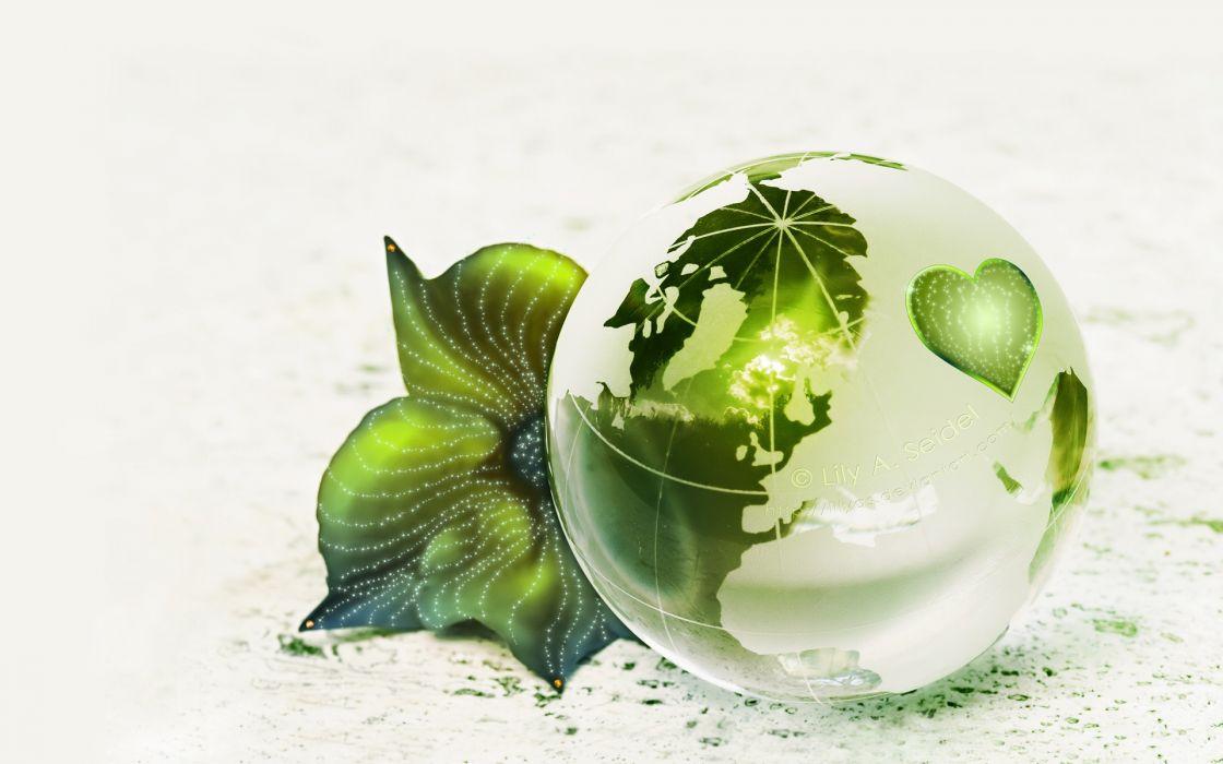 green leaf Earth globes white background wallpaper