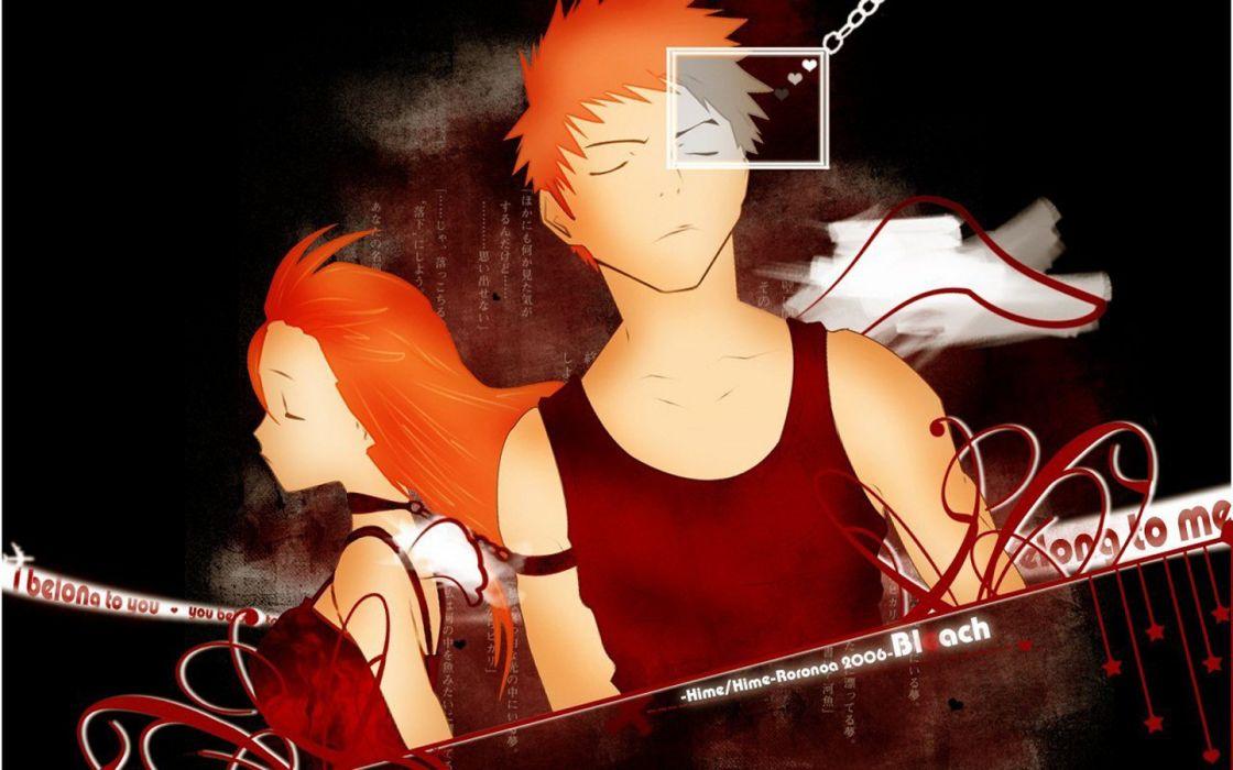 text Bleach Kurosaki Ichigo Inoue Orihime closed eyes orange hair vector art wallpaper