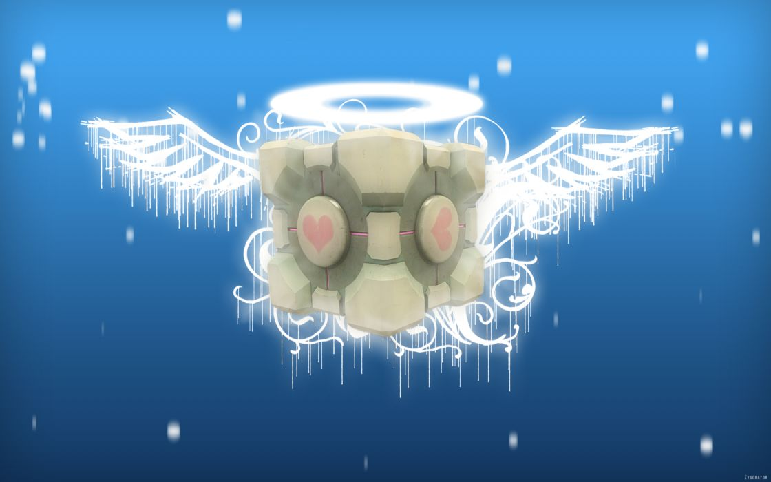 light angels Portal wings balls Companion Cube wallpaper