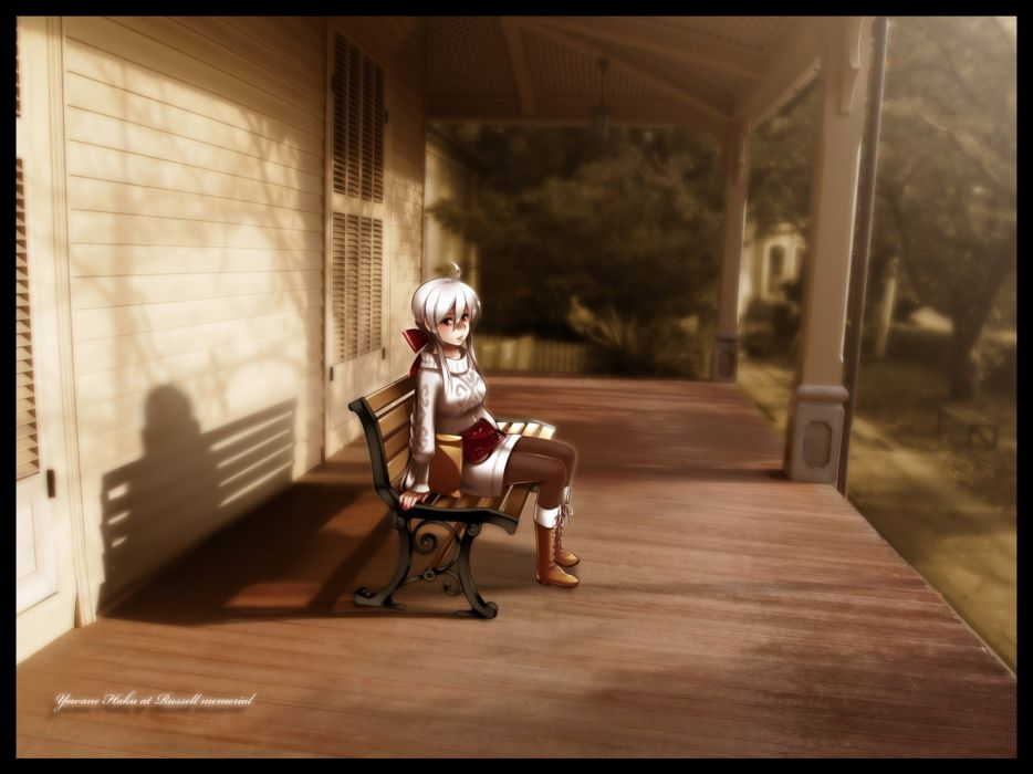 Vocaloid white hair Yowane Haku Vocaloid Fanmade wallpaper