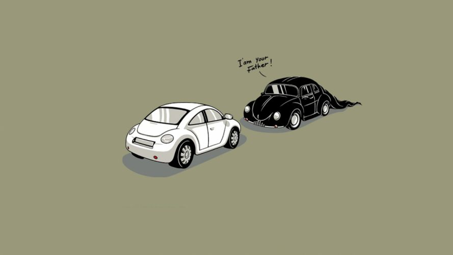 minimalistic cars Darth Vader funny artwork Volkswagen Beetle I am your Father wallpaper