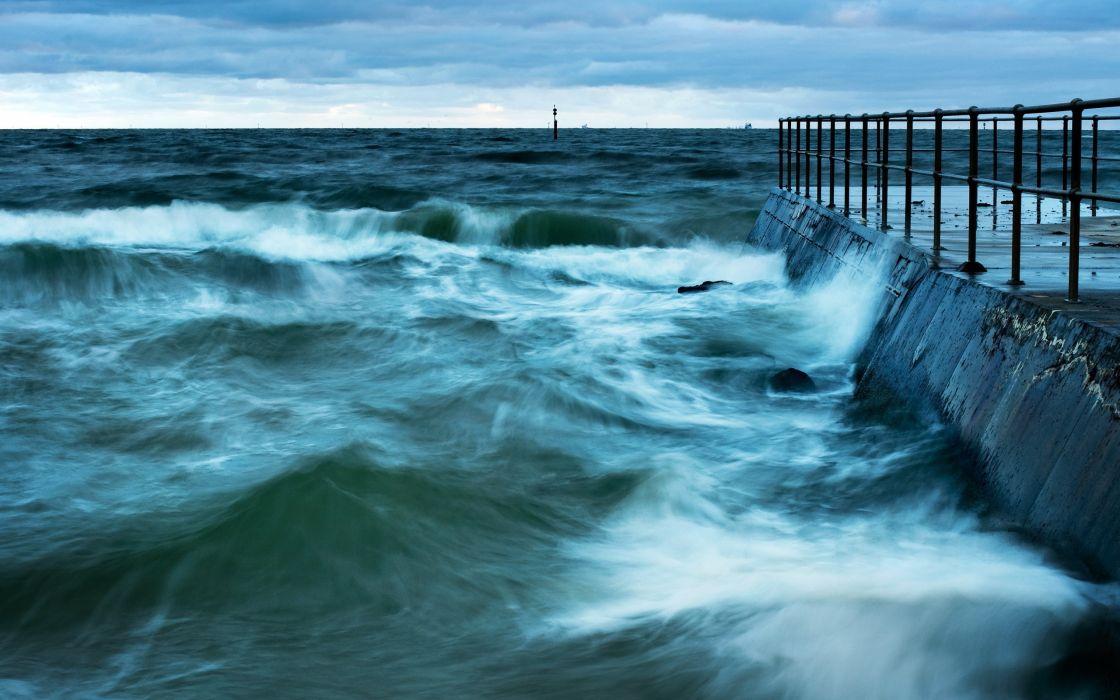 waves piers sea wallpaper