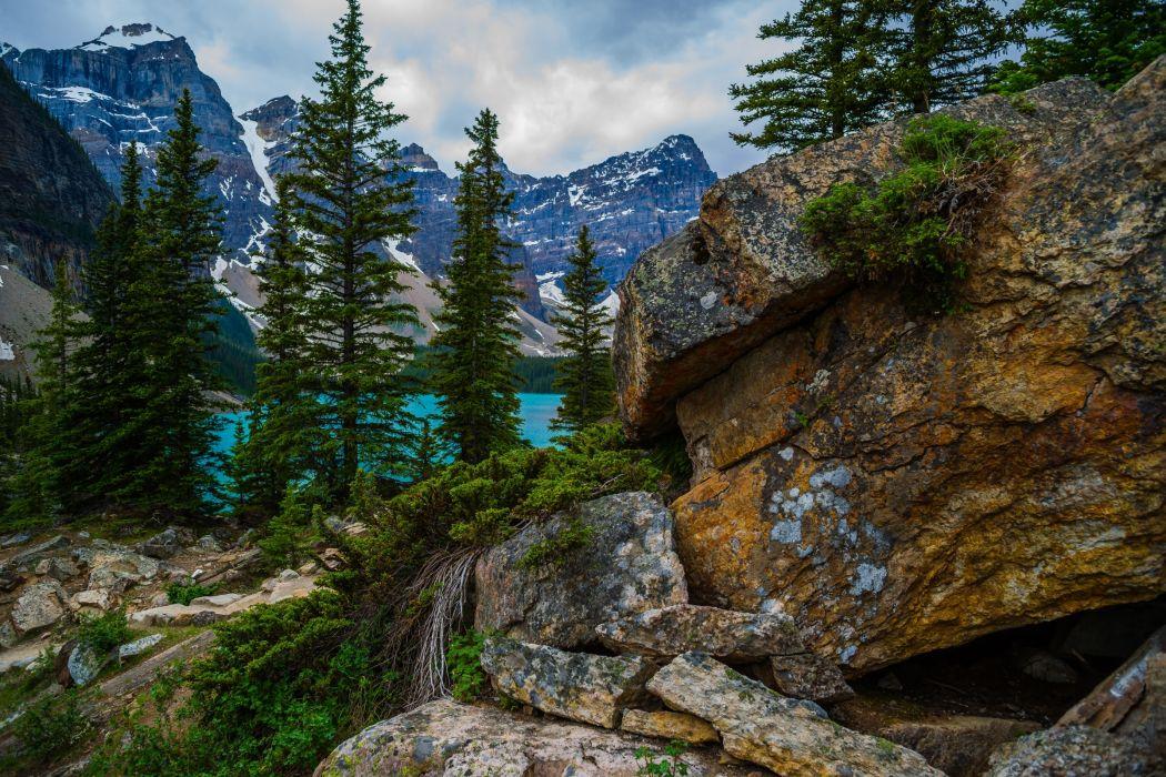 Alberta Canada lake mountains wallpaper