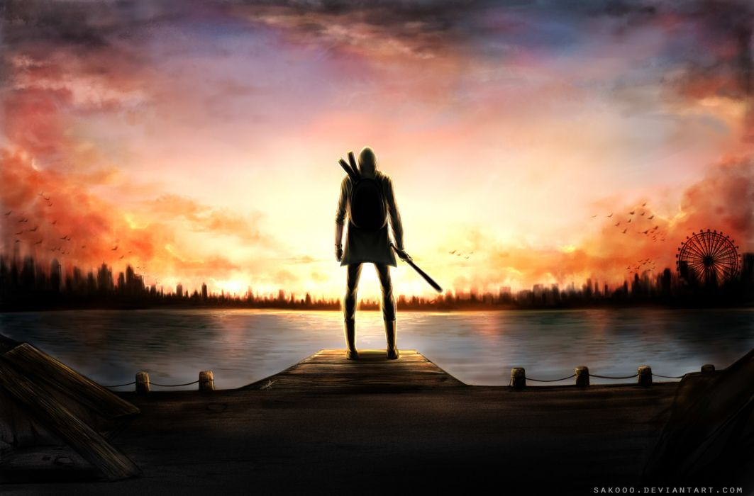 Another World It Exists fantasy warrior reflection sunset wallpaper