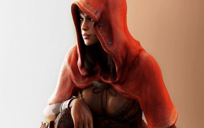 Art Resident Evil 5 Sheva Alomar girl hood red wallpaper