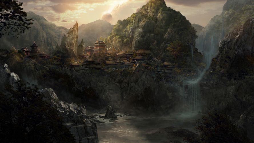 Asian Buildings Landscape River Waterfall Drawing Planet wallpaper