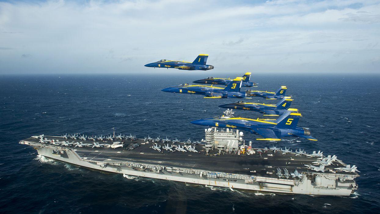 Blue Angels Jet Aircraft Carrier Ocean military wallpaper