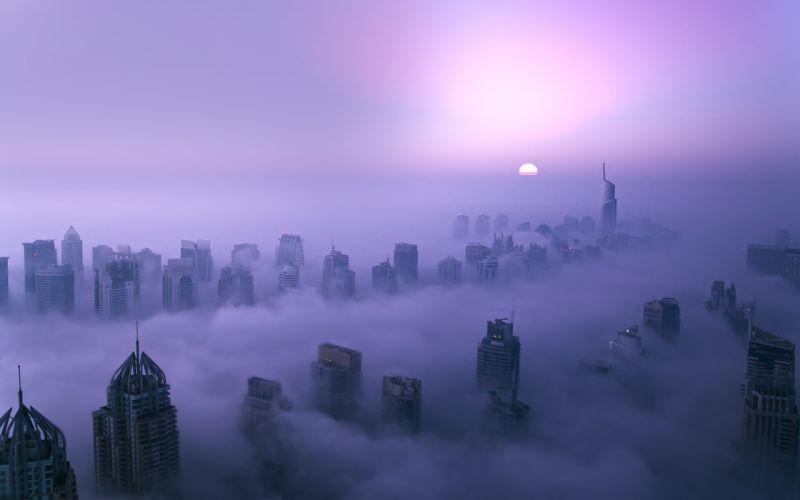 Buildings Skyscrapers Purple Dubai Sunset wallpaper
