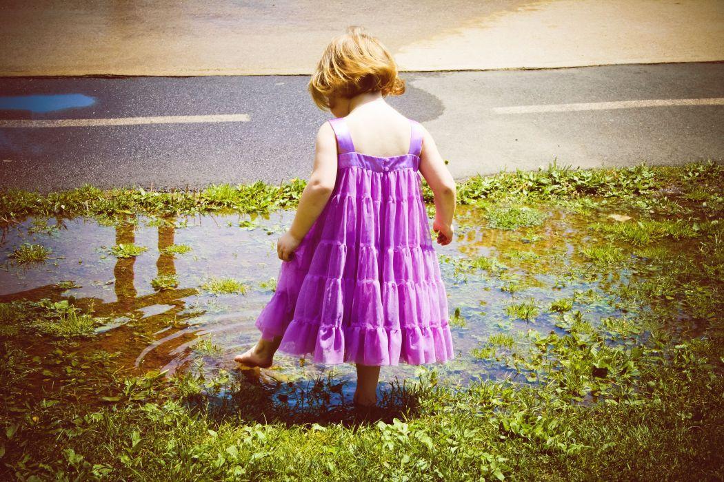 Children Dress Little girls Puddle mood wallpaper