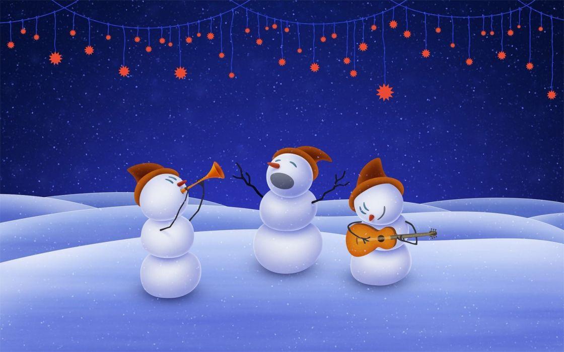 christmas snowman stars music wallpaper