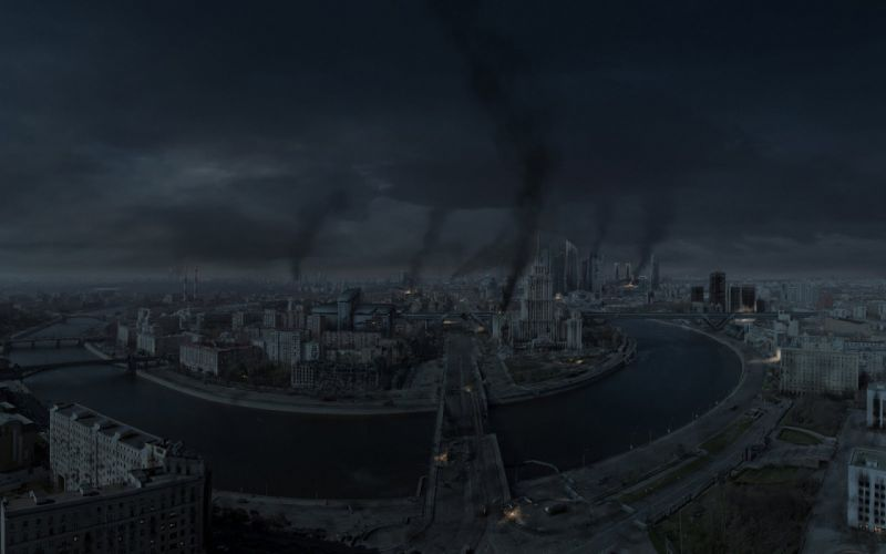 city Moscow Russia war night apocalyptic battle dark wallpaper