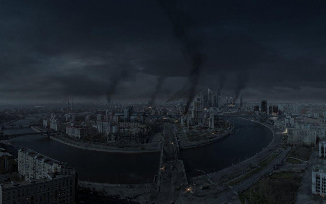city Moscow Russia war night apocalyptic battle dark wallpaper