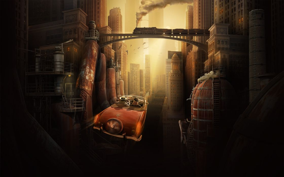 city the future metropolis fantasy car retro train bridge houses buildings skyscrapers pipes steam metal grunge wallpaper