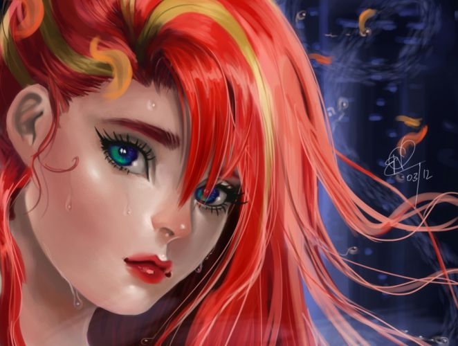 Disney The Little Mermaid Face Glance Hair Redhead girl Cartoons Girls wallpaper