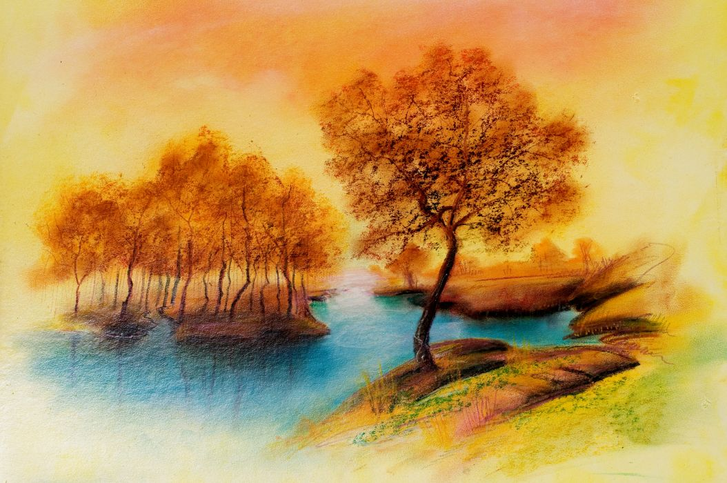 drawing landscape river trees peace autumn wallpaper