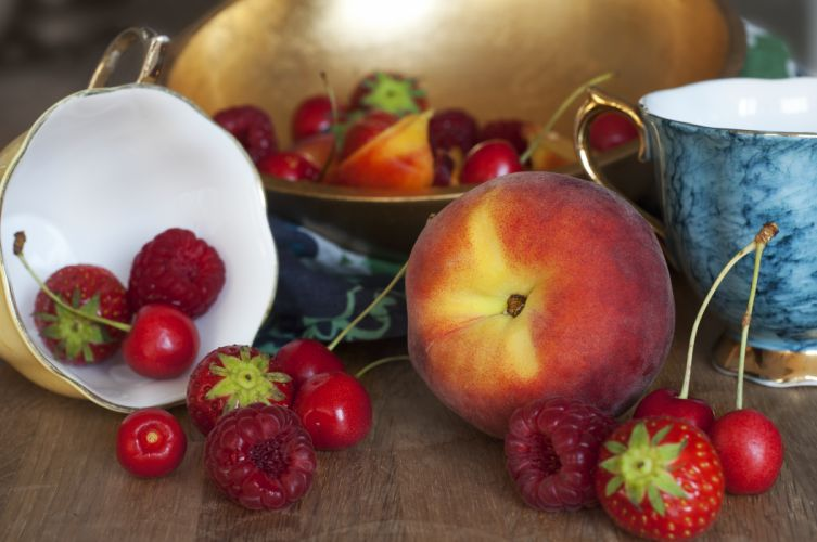 Fruit Peaches Strawberry Food wallpaper