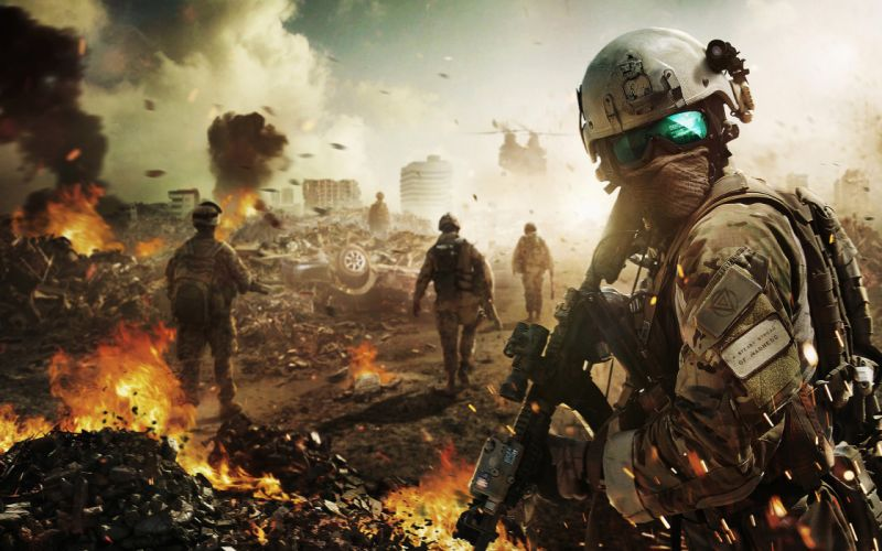 Ghost Recon GRAW Soldiers Fire military apocalyptic warrior sci-fi wallpaper