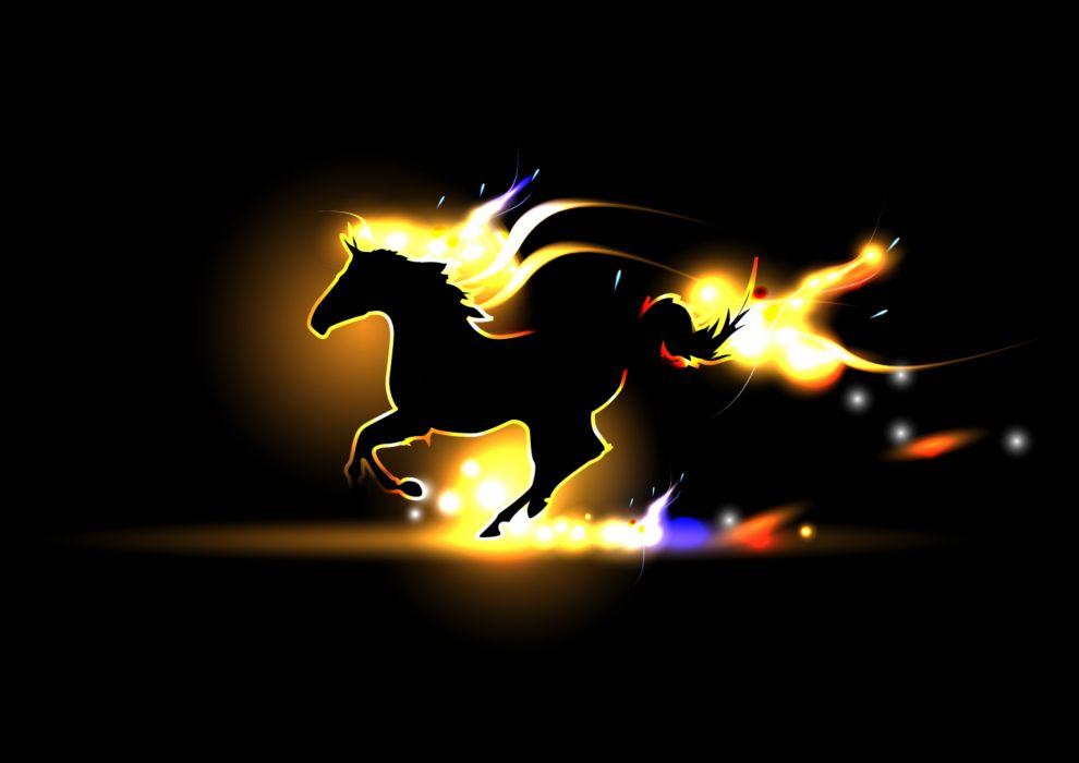horse silhouette fire wallpaper