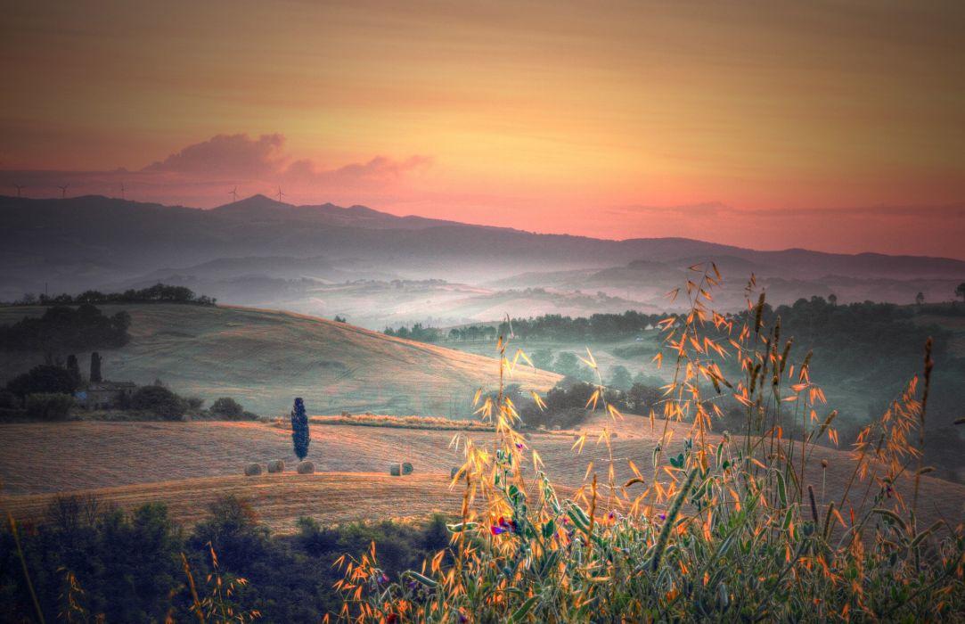 Italy Tuscany hills trees fields plants grass morning dawn fog autumn wallpaper