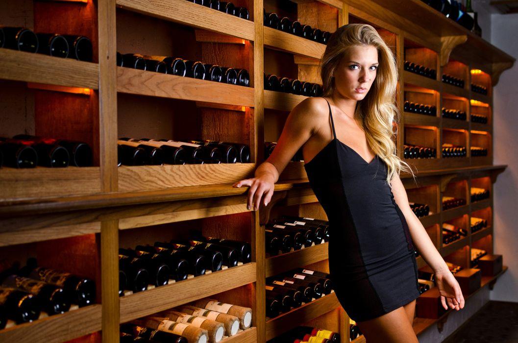 Kara Emery wine blonde sexy warehouse cellar wallpaper