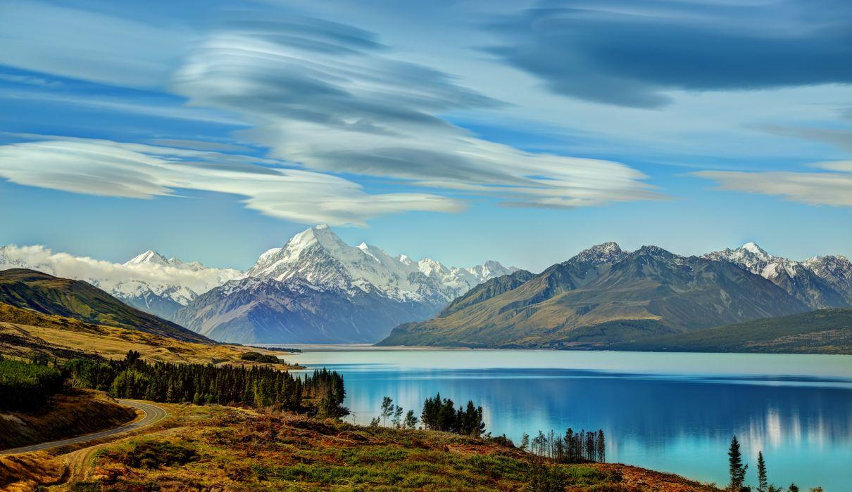 Lake New Zealand Mountains Scenery Pukaki Nature reflection wallpaper