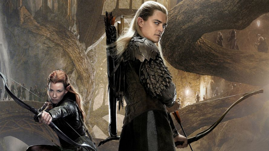 Lord of the Rings The Hobbit Orlando Bloom Legolas Evangeline Lilly Tauriel Bow Arrow Elf wallpaper