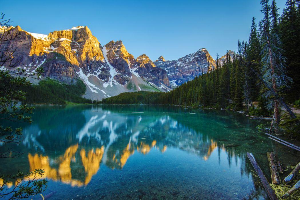 mountain forest lake reflection morning wallpaper