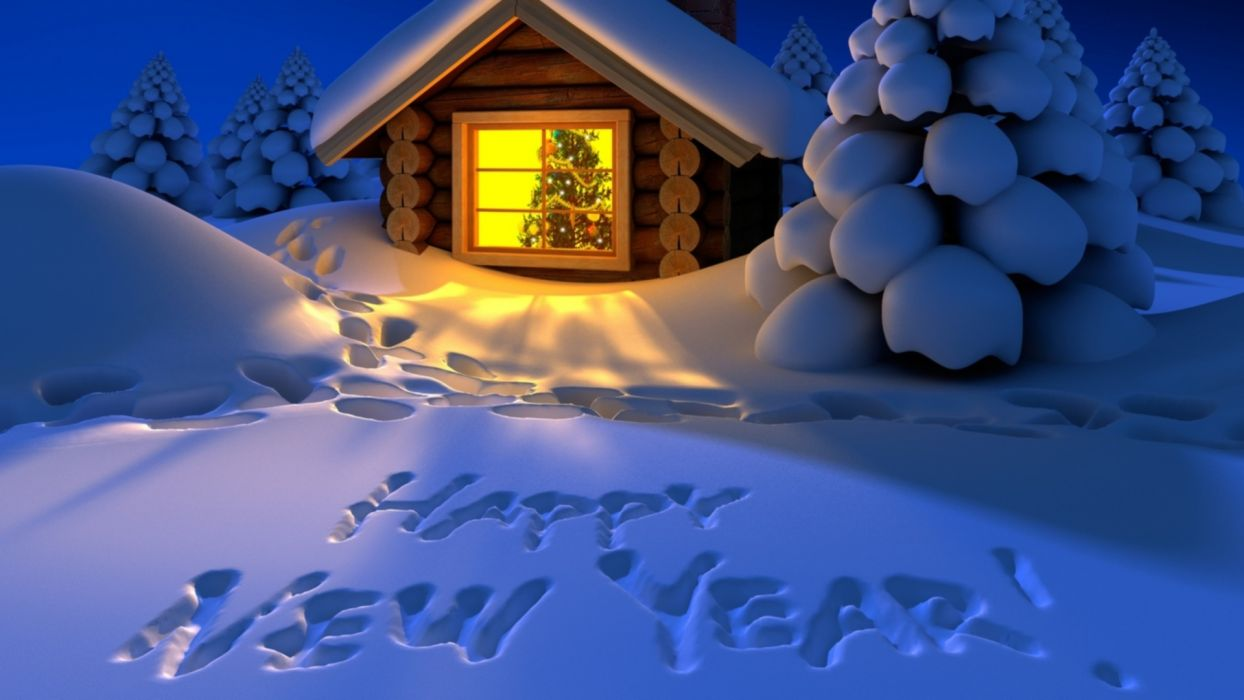 new year drawing home snow forest trails tree christmas wallpaper