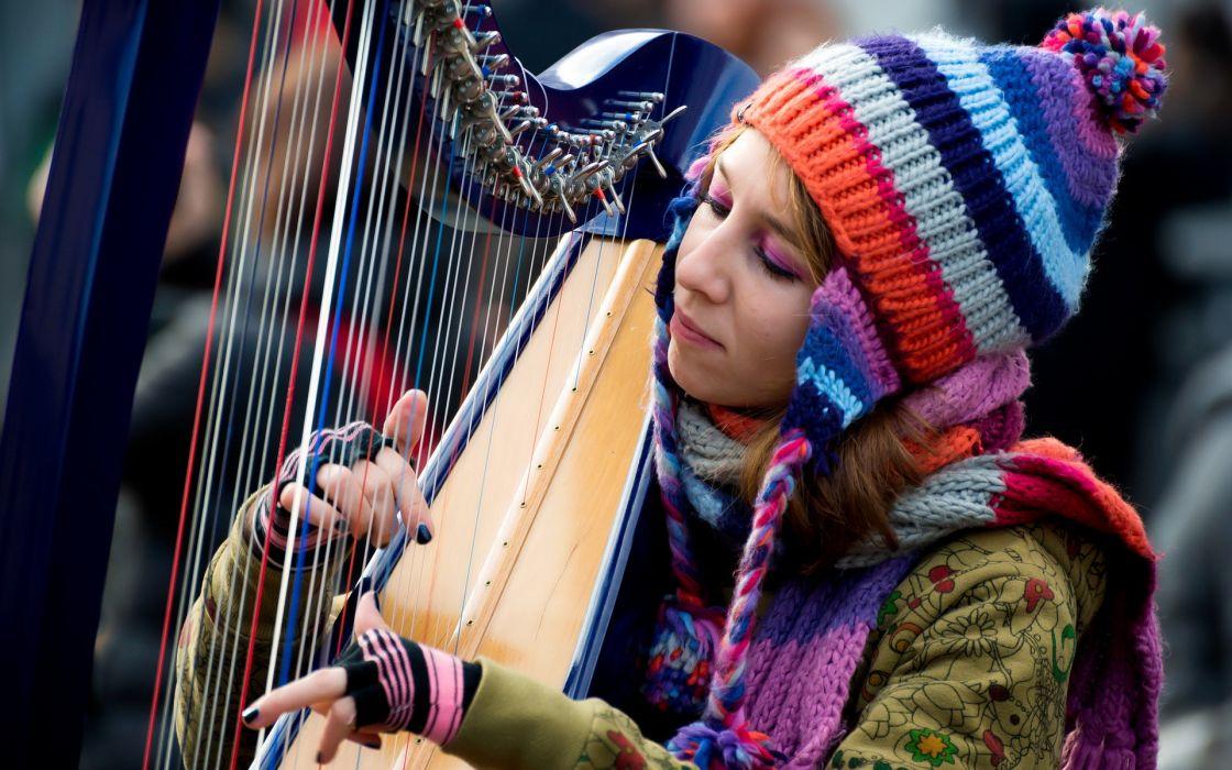 note di colore girl harp music mood wallpaper