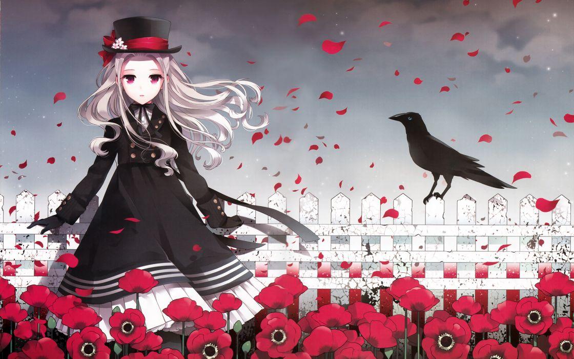 original animal bird bow dress flowers gloves hat lolita fashion long hair nardack original petals pink eyes scan white hair wallpaper