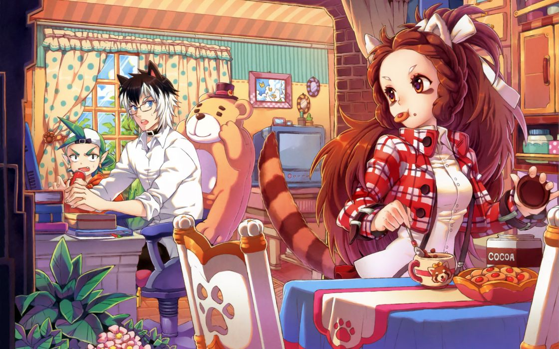 original animal ears blue eyes brown eyes brown hair collar drink fang food glasses green hair hat leaves long hair nardack original short hair tail wallpaper