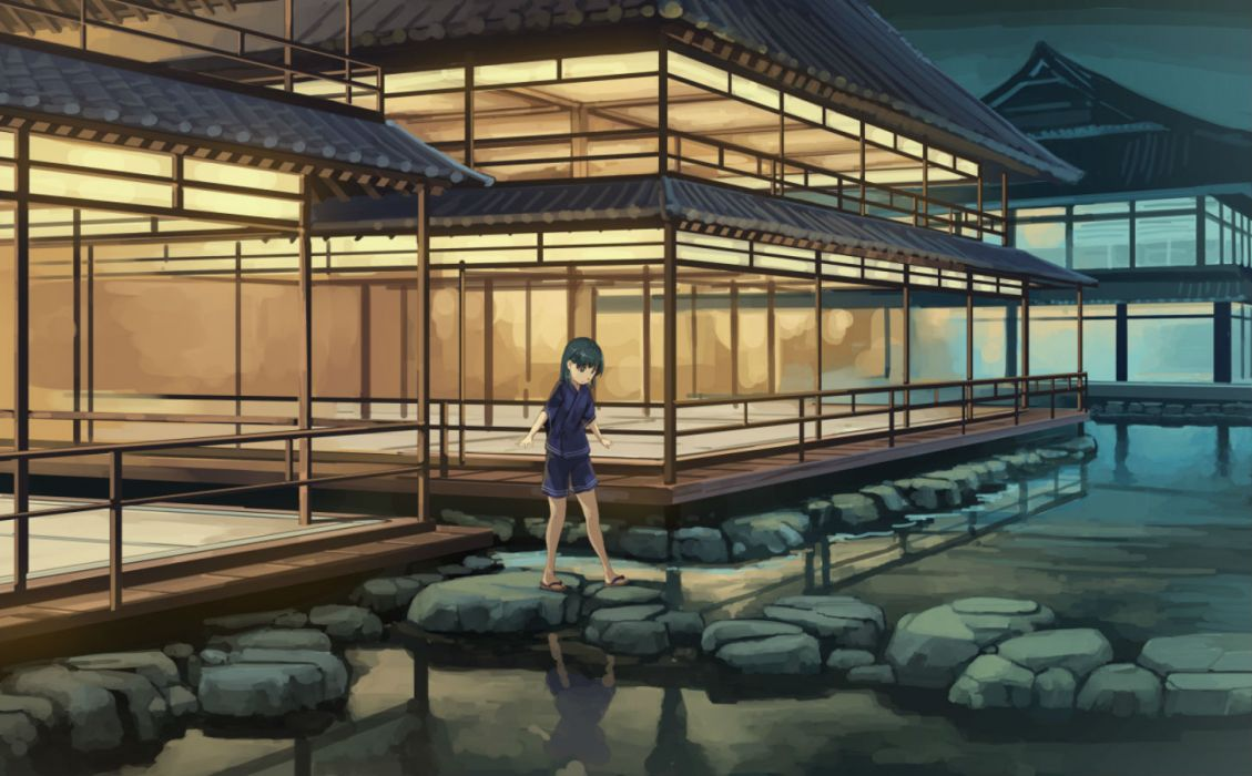 original black hair building eichisu original shorts water wallpaper