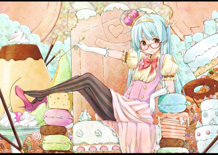 original aqua hair blush brown eyes candy food glasses headband long hair original sekiyu-mngk twintails wallpaper