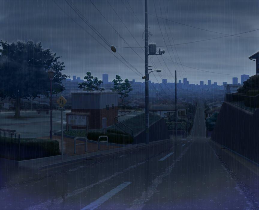 original city dark nobody original rain scenic sky tree water yuugure wallpaper