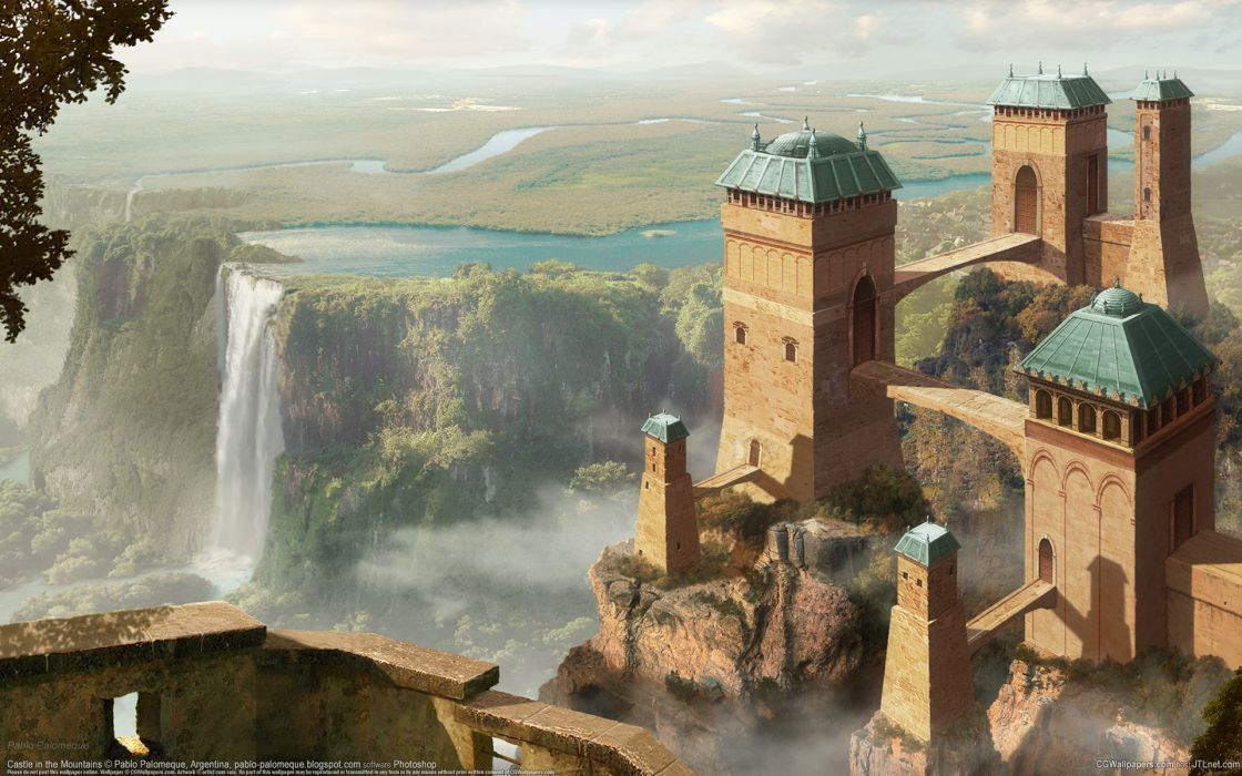 Pablo Palomeque castle waterfall river landscape wallpaper