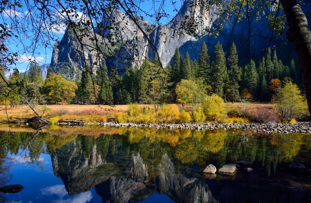 Parks USA Scenery Yosemite California Nature reflection wallpaper