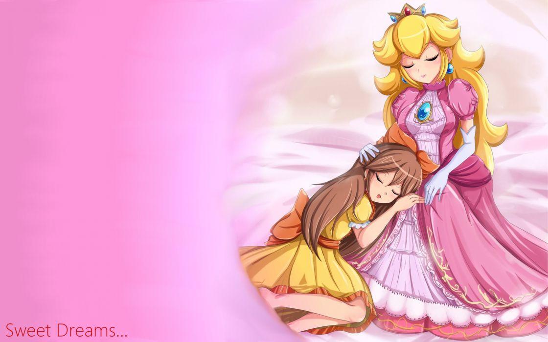 Peach Pink Mario Princess fantasy cartoon wallpaper
