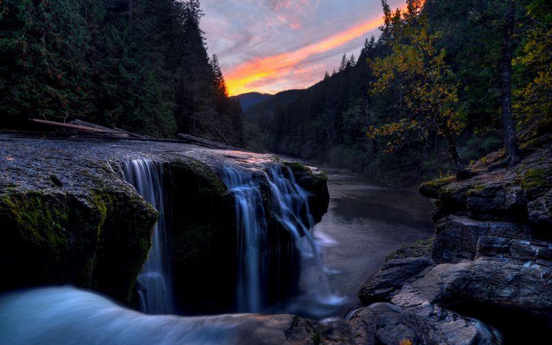 river sky sunset forest rocks streams wallpaper