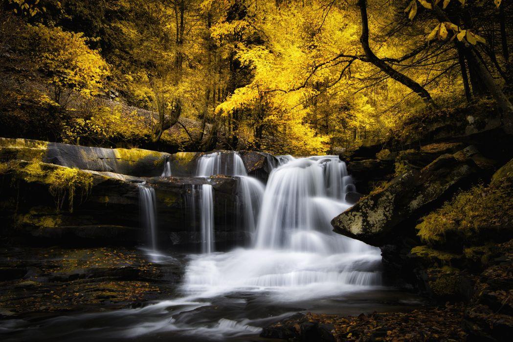 river waterfall cascade stream autumn forest wallpaper