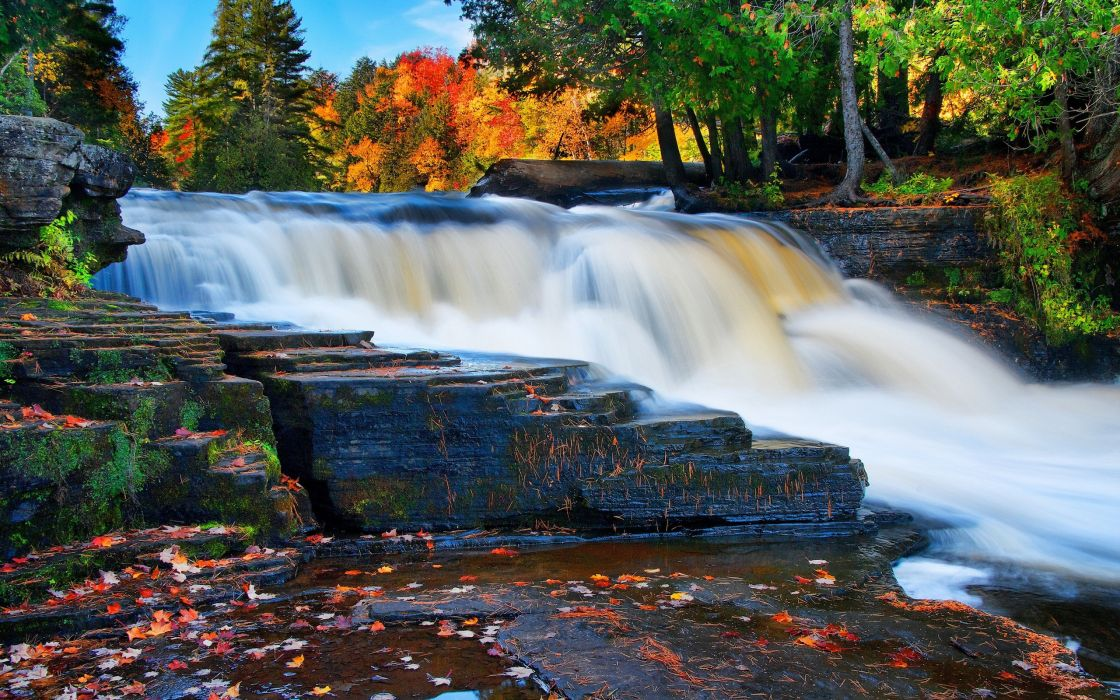 river waterfall fall rocks trees landscape autumn     g wallpaper
