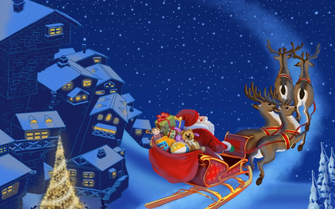 santa claus is coming Merry Christmas Christmas tree new year snow town Reindeer wallpaper