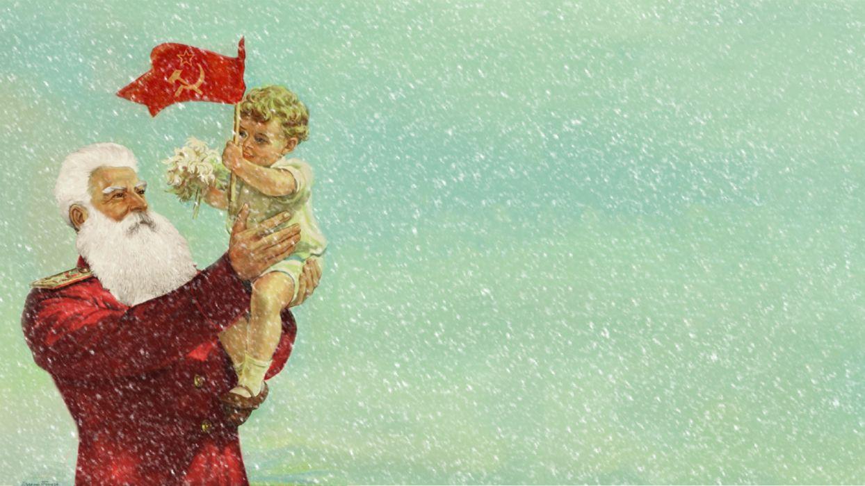 Santa Christmas Drawing Communist Baby Child wallpaper