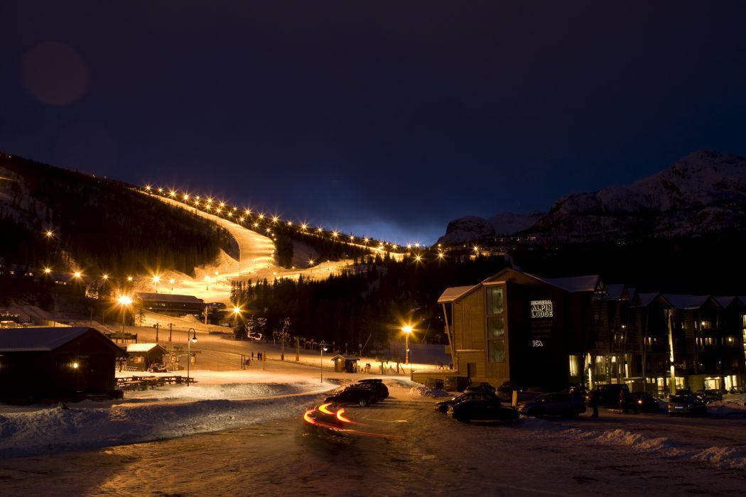 Scenery Norway Valley Hemsedal Night Street lights Nature wallpaper