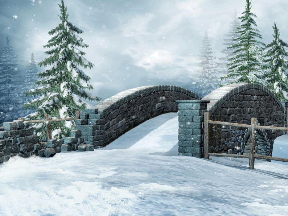 Seasons Winter Bridge Fir Snow Nature 3D Graphics wallpaper